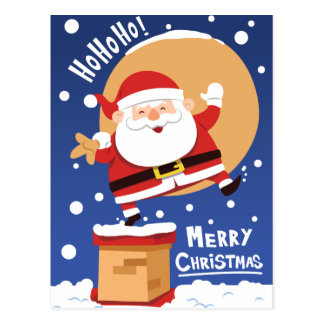 Funny Santa Claus going down the chimney Postcard