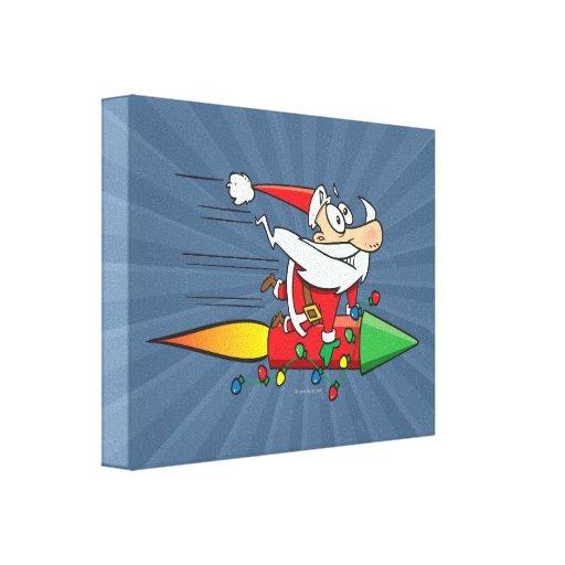 funny santa claus on a rocket cartoon canvas print