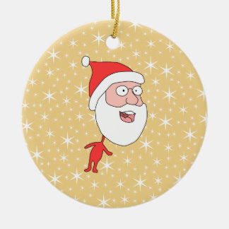 Funny Santa Claus, on Gold Color Star Pattern. Christmas Ornament