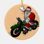 Funny Santa Claus On Green Vintage Motorbike Round Ceramic Ornament
