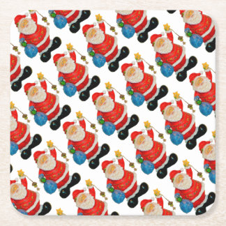 Funny Santa Claus Pattern Christmas Party Square Paper Coaster