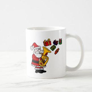 Funny Santa Claus Playing Tuba Christmas Art Coffee Mug