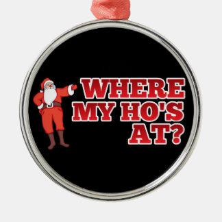 Funny Santa Claus Silver-Colored Round Ornament