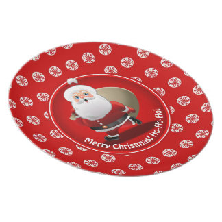 Funny Santa Claus With A Sack Full Of Gifts Plate
