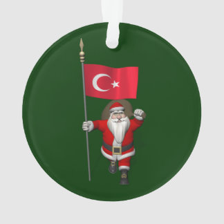 Funny Santa Claus With Flag Of Turkey Ornament
