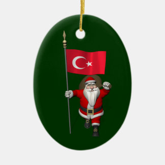 Funny Santa Claus With Flag Of Turkey Ceramic Oval Ornament
