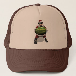 Funny Santa Claus With Giant Melon Trucker Hat