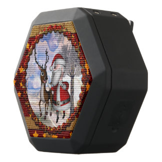 Funny Santa Claus with reindeer Black Bluetooth Speaker