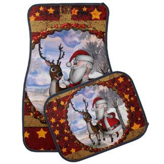 Funny Santa Claus with reindeer Car Mat