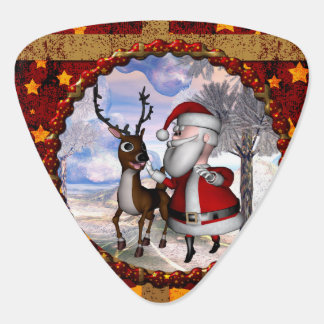 Funny Santa Claus with reindeer Guitar Pick