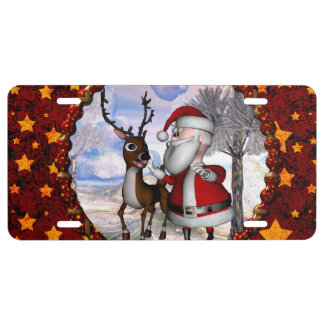 Funny Santa Claus with reindeer License Plate