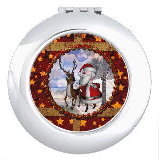 Funny Santa Claus with reindeer Makeup Mirrors