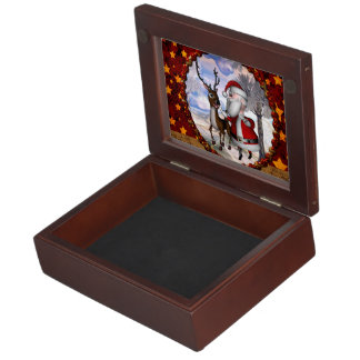 Funny Santa Claus with reindeer Memory Box