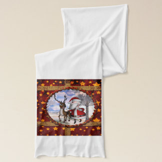 Funny Santa Claus with reindeer Scarf