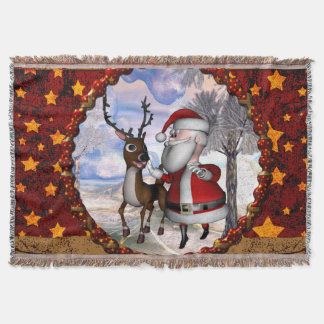 Funny Santa Claus with reindeer Throw Blanket