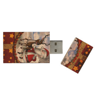 Funny Santa Claus with reindeer Wood USB Flash Drive