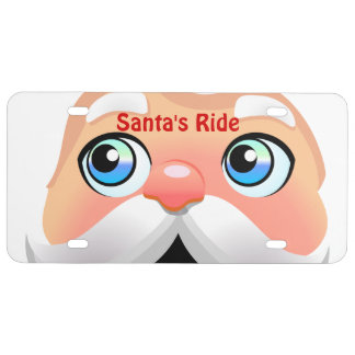 Funny Santa Claus With Rosy Cheeks License Plate