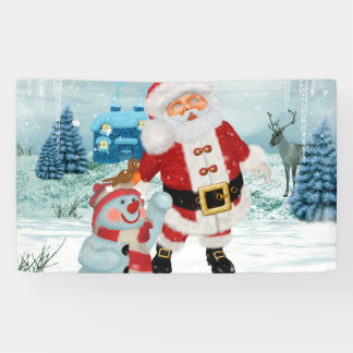 Funny Santa Claus with snowman Banner