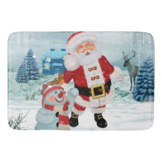 Funny Santa Claus with snowman Bath Mat