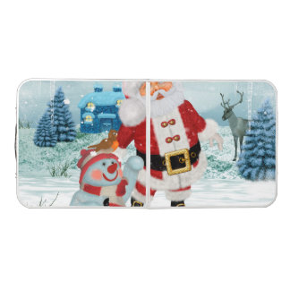 Funny Santa Claus with snowman Beer Pong Table