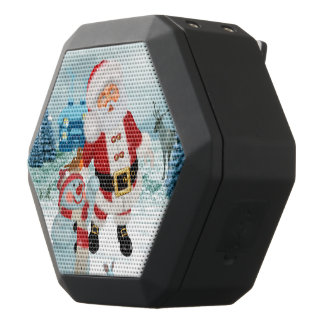 Funny Santa Claus with snowman Black Bluetooth Speaker