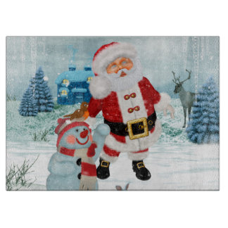 Funny Santa Claus with snowman Boards