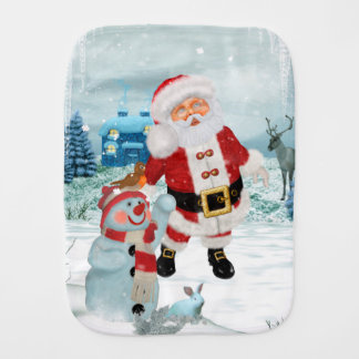 Funny Santa Claus with snowman Burp Cloth