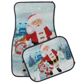 Funny Santa Claus with snowman Car Mat