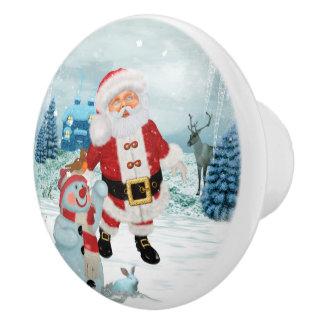 Funny Santa Claus with snowman Ceramic Knob
