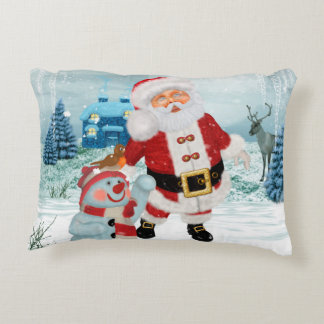 Funny Santa Claus with snowman Decorative Pillow