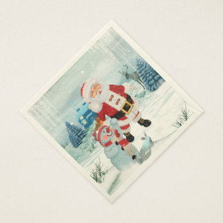 Funny Santa Claus with snowman Disposable Napkins
