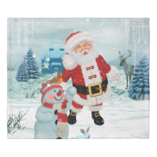 Funny Santa Claus with snowman Duvet Cover