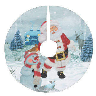 Funny Santa Claus with snowman Faux Linen Tree Skirt