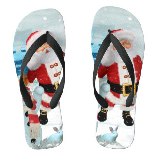 Funny Santa Claus with snowman Flip Flops