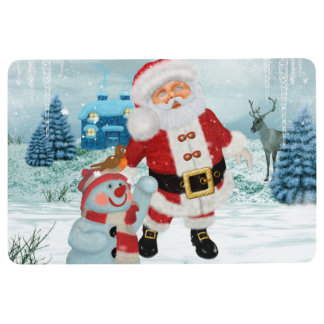 Funny Santa Claus with snowman Floor Mat