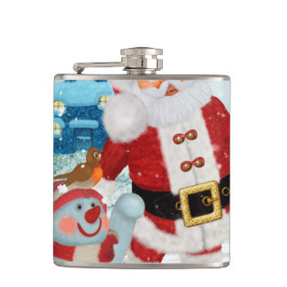 Funny Santa Claus with snowman Hip Flask