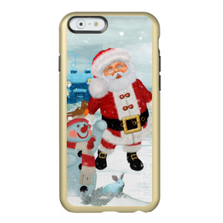 Funny Santa Claus with snowman Incipio Feather® Shine iPhone 6 Case