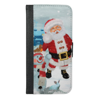 Funny Santa Claus with snowman iPhone 6/6s Plus Wallet Case
