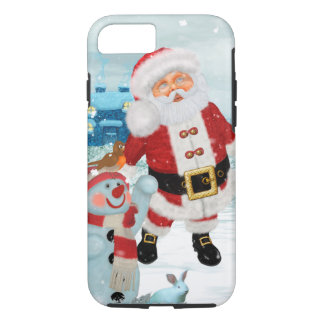 Funny Santa Claus with snowman iPhone 8/7 Case