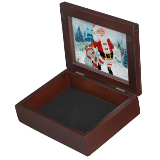 Funny Santa Claus with snowman Keepsake Box