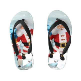 Funny Santa Claus with snowman Kid's Flip Flops