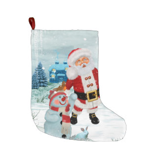 Funny Santa Claus with snowman Large Christmas Stocking