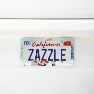 Funny Santa Claus with snowman License Plate Frame