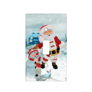 Funny Santa Claus with snowman Light Switch Cover