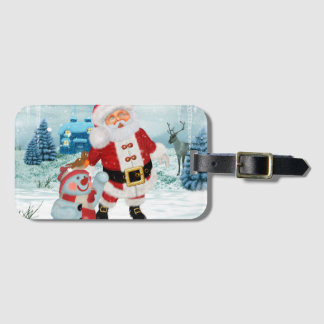 Funny Santa Claus with snowman Luggage Tag