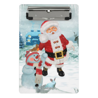 Funny Santa Claus with snowman Mini Clipboard