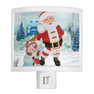 Funny Santa Claus with snowman Night Lite