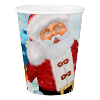 Funny Santa Claus with snowman Paper Cup