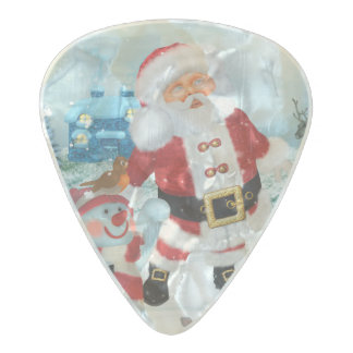 Funny Santa Claus with snowman Pearl Celluloid Guitar Pick