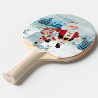Funny Santa Claus with snowman Ping Pong Paddle